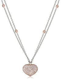 """Adult Tweens Teens 14k White and Rose Gold Cubic Zirconia Pave Puffed Heart Pendant Necklace 16"""" Italy"""