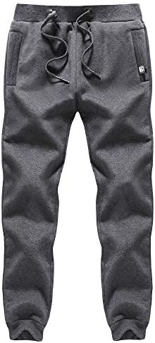 MAGCOMSEN Men's Winter Fleece Sherpa Lined Pants with 2 Zipper Pockets Joggers for Workout,Gym,Hiking