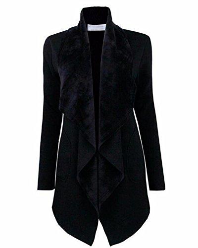 Front Blazer (LANISEN Women's Long Sleeve Open Front Draped Business Blazer Cardigan Jacket Black XL)