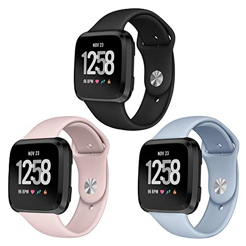 Kmasic Sport Band Compatible Fitbit Versa 3 Pack, Soft Silicone Strap Replacement Wristband Compatible Fitbit Versa Smart Fitness Watch, Small, Sand Pink, Black, Light Blue