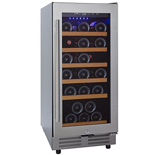 Wine Enthusiast Classic 15 Inch Under Counter Wine Refrigerator - 30 Bottle Wine Fridge, Stainless ()
