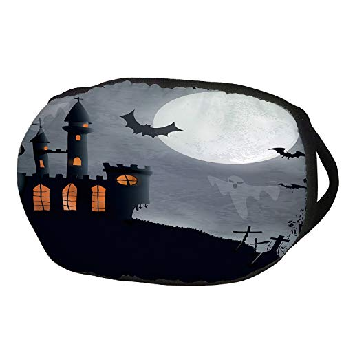 Fashion Cotton Antidust Face Mouth Mask,Vintage Halloween,Halloween Themed Asymmetric Caste with Scary Bats and Ghosts Full Moon,Black Grey,for women & men ()