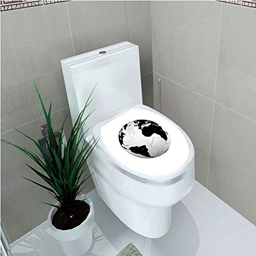Toilet Custom Sticker,Sports Decor,Soccer Ball with World Map Football Cup 2010 Entertaining Professional Game,Diversified Design,W12.6