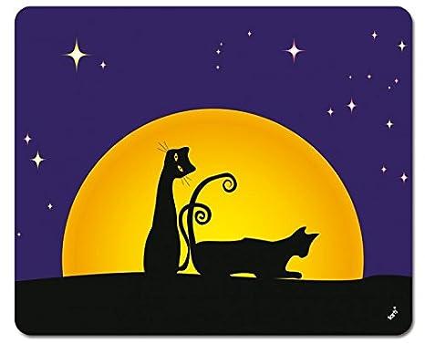 Gatos - Dos Gatos Negros En La Noche De Luna Llena Alfombrilla para Ratón (23