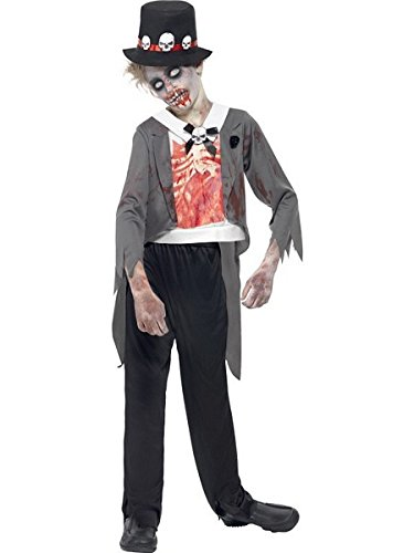 Smiffy's Children's Zombie Groom Costume, Jacket, Printed Mock Shirt, Trousers - Till Death Do Us Part Costume