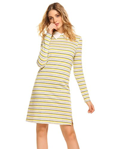 - BEAUTYTALK Loose Long Sleeve Casual Striped Women T-Shirt Dress Yellow XL