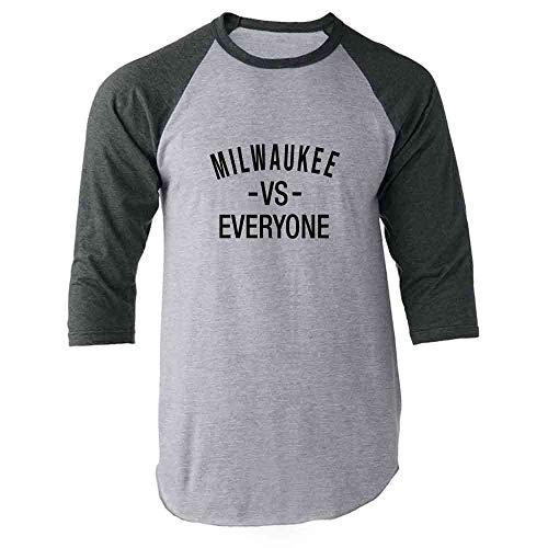 Milwaukee vs Everyone Sports Fan Gray S Raglan Baseball Tee Shirt - Milwaukee American Great Bucks