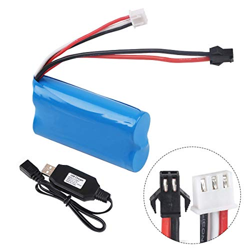 Innovateking 7.4V 1500mAh Battery 15C SM Plug with USB Charger for RC Car Boat Spare Parts Accessories
