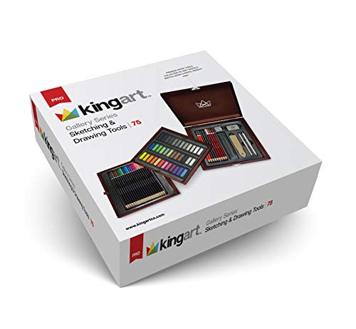 KINGART 121 Gallery Series Sketching & Drawing Tools, Set of 74 Art Set, Assorted