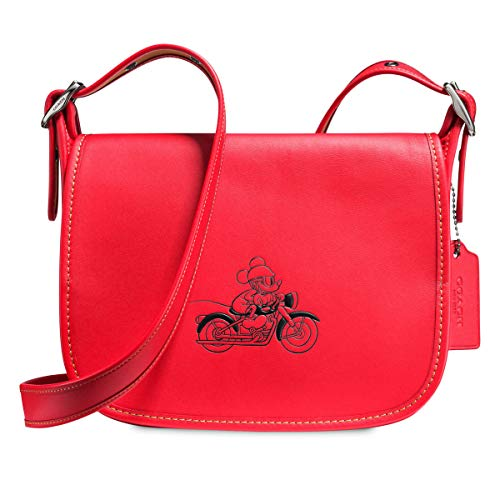- COACH MICKEY Patricia Saddle 23 in Glove Calf Leather with Mickey (Bright Red)