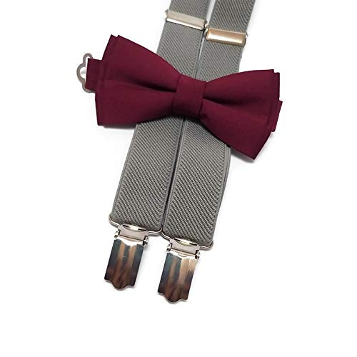 GREY suspenders and BURGUNDY WINE plain cotton bow tie for groomsmen for groom outfit for ring bearers men