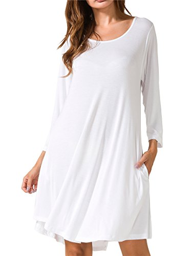 JollieLovin Women's Casual Swing 3/4 Sleeve Pockets T-Shirt Loose Dress (White, 1X)