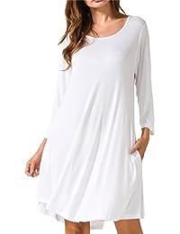 Women's Casual Swing 3/4 Sleeve Pockets T-Shirt Loose Dress