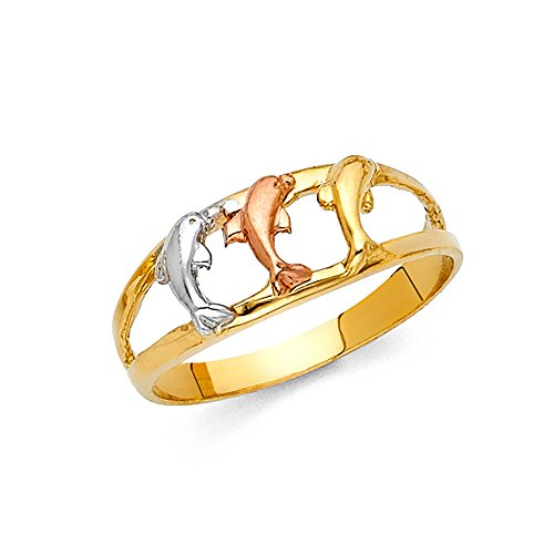 White Gold Ring Dolphin (Three Dolphin Ring 14k Yellow White Rose Gold Open Band Polished Finish Fancy Tri Color 8MM, Size 6.5)