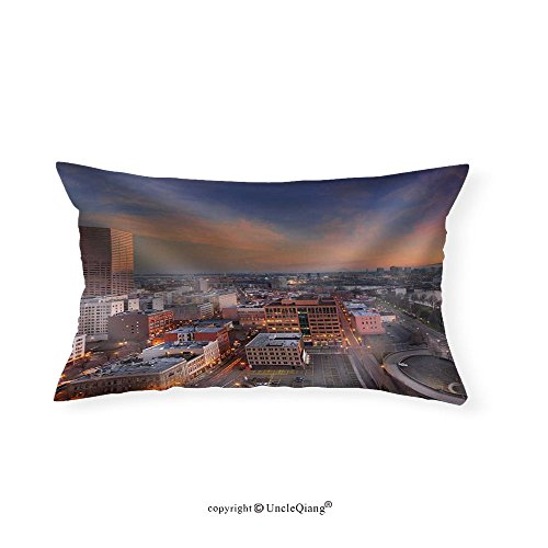 VROSELV Custom pillowcasesFreeway Ramp to Downtown Portland Oregon Along Willamette River Waterfront at Sunrise Cityscape - Fabric Home - Waterfront Pittsburgh