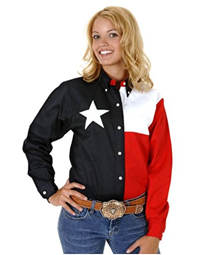Roper Women's Long Sleeve Texas Flag Shirt Plus Navy 2X