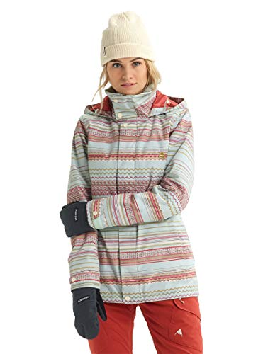 Burton Women's Jet Set Jacket, Aqua Gray Revel Stripe, XX-Large (Snowboarding Set Women)