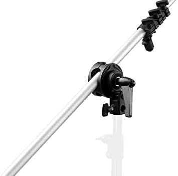 Sliver 1.96 inches//5 centimeters Open for Photo Studio Light Stand Boom Arm Reflector Backdrop and More Max Neewer 2-Pack Heavy Duty Metal Spring Clamp Holder with 5//8 inches Stud