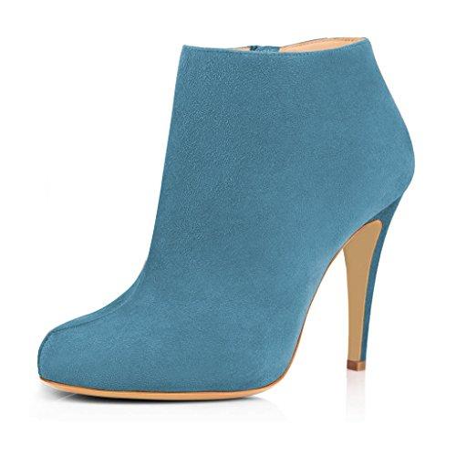 Fsj Moda Mujer Tacones Altos Botines Faux Suede Almond Toe Cremallera Lateral Zapatos De Oficina Tamaño 4-15 Us Dark Cyan