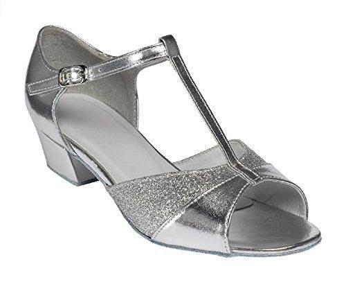 Girls Glitzer Silber Ballroom Schuhe mit 3.05 cm Ferse, Größen klein bis groß, 5, 9