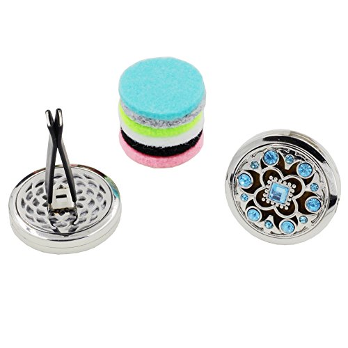 ener Aromatherapy Essential Oil Diffuser Vent Clip Fragrance Air Purifier Stainless Steel Magnetic Locket 6 Colorful Felt Refill Pads (Pattern-14-Charm) ()