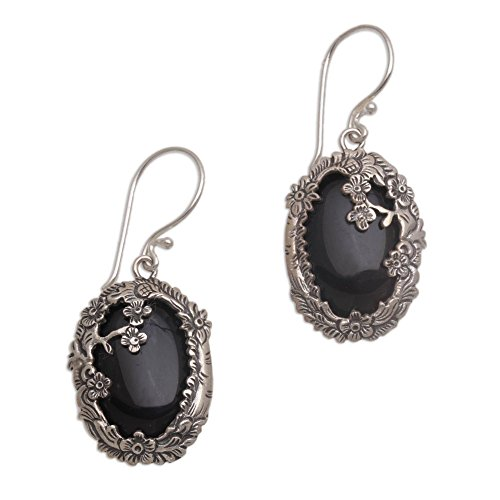 NOVICA Black Onyx .925 Sterling Silver Floral Dangle Earrings Dreamy Forest