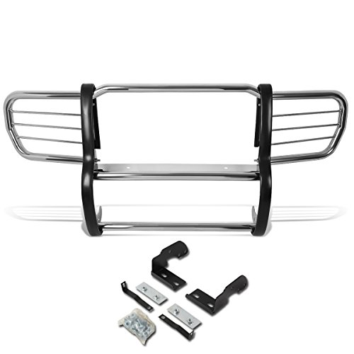 (DNA MOTORING Silver GRILL-G-047-SS Front Bumper Brush Grille Guard)