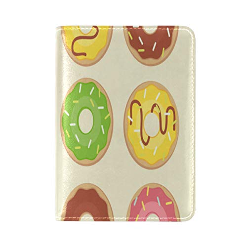 Passport Cover Case Donuts Sweets Delicious Girl Heart-high Value Delicious Cake Leatherµfiber Multi Purpose Print Passport Holder Travel Wallet For Women And Men 5.51x3.94 In