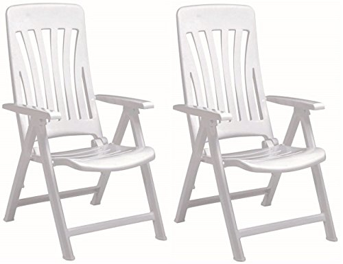 Resol Blanes Folding Multi-Position Garden Armchair - White Plastic - Pack of 2 Chairs