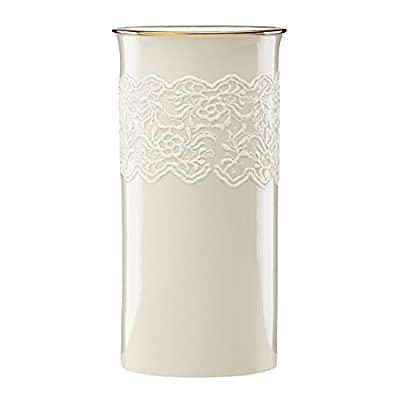 Lenox Lace Trumpet Vase - Crafted of porcelain Accented with gold Measuring 10 inches in height - vases, kitchen-dining-room-decor, kitchen-dining-room - 41kHtRha3yL. SS400  -