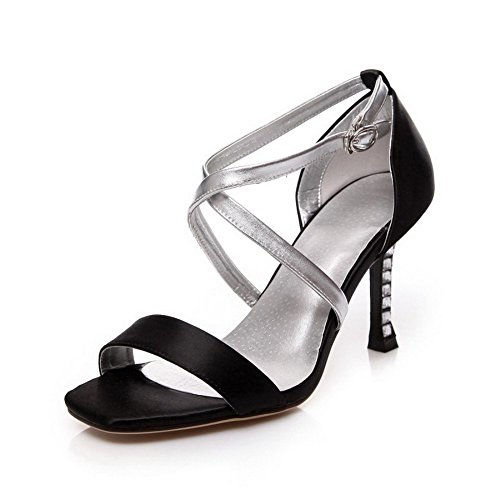 Assorted High Color AmoonyFashion Satin Heels Sandals Toe Open Womens Black Buckle wFHqAf