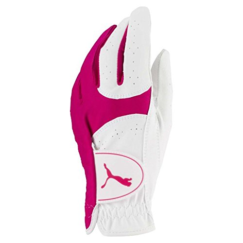 (Puma Golf 2018 Women's Soft Lite Glove (Bright White-Beetroot Purple, X-Large, Left Hand))
