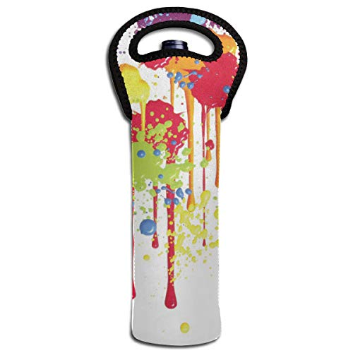 XZX2018 Splatter Clipart Paint Splash Insulated Thick Neoprene Wine Carrier Tote Bag Water Bottle Holder With Secure Carry Handle Keeps Bottles Protected Perfect For BYO Parties ()
