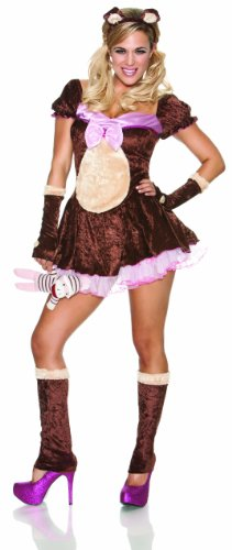 Sexy Teddy Bear Costumes - Delicious Beary Cute Costume, Brown/Pink, Small