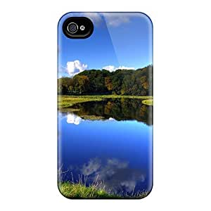 RGbnEZE3018PJCMd Anti-scratch Case Cover ConnieJCole Protective Blue Forest Lake Case For Iphone 4/4s