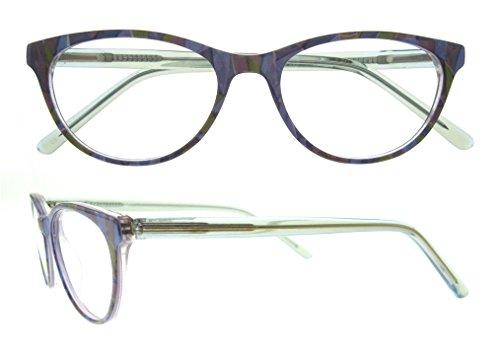 Eyeglasses With Clear Lenses OCCI CHIARI Fashion ACCETTI Acetate Frame (Purple-green, - Acetate Eyeglasses