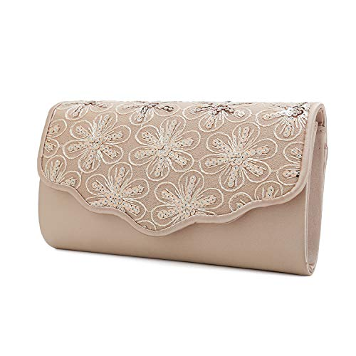 Charming Tailor Satin Clutch Purse Floral Sequins Bag for Women Evening Bag Small Formal Party Handbag (Champagne)
