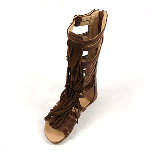 Brown Genuine Leather Gladiator Sandals