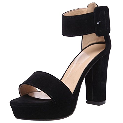 Coolcept Women Fashion Block High Heel Sandals Black gccGZ