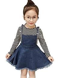 SUPEYA Kid Girls Stripe Long Sleeve Tops Suspender Braces Denim Skirt Sets Outfits