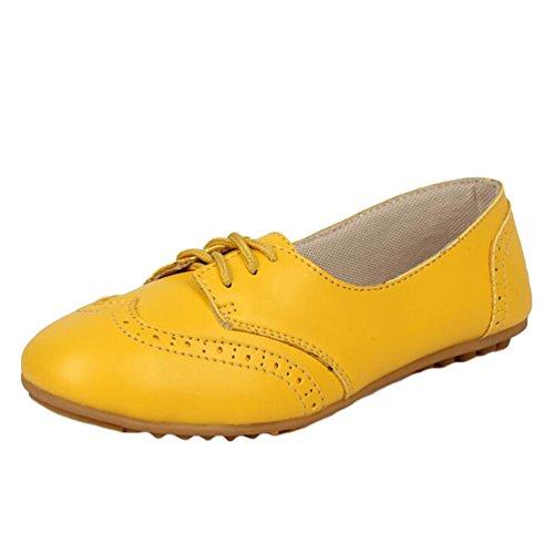 Heheja Mujer Ocio Talón Plano Verano Zapatos Encaje Comodidad Mocasines Amarillo
