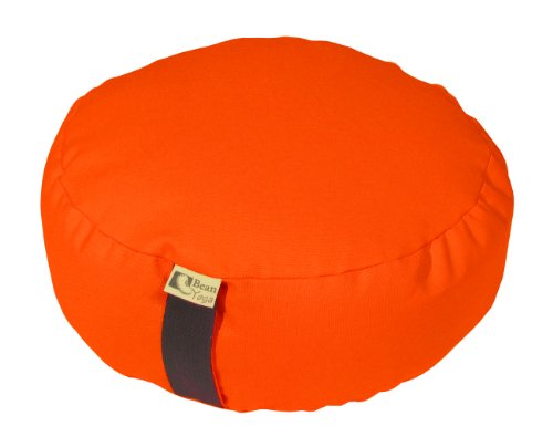 ORANGE - Round Zafu Meditation Cushion - Yoga - 10oz Cotton - Organic Buckwheat Fill - Made in USA