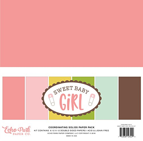 12x12 Paper Girl (Echo Park Paper Company Sweet Baby Girl Solids Kit)