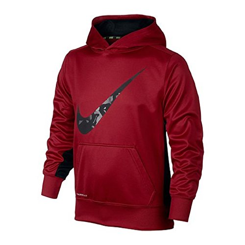 Nike BOYS KO 3.0 SWOOSH OTH HOODIE 8-20 (SMALL, RED/BLACK)