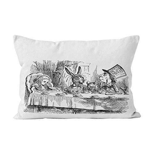 Gygarden Cute Vintage Alice in Wonderland Mad Hatter Tea Party Hidden Zipper Home Decorative Rectangle Throw Pillow Cover Cushion Case Standard 20x26 Inch One Side Design Printed Pillowcase -