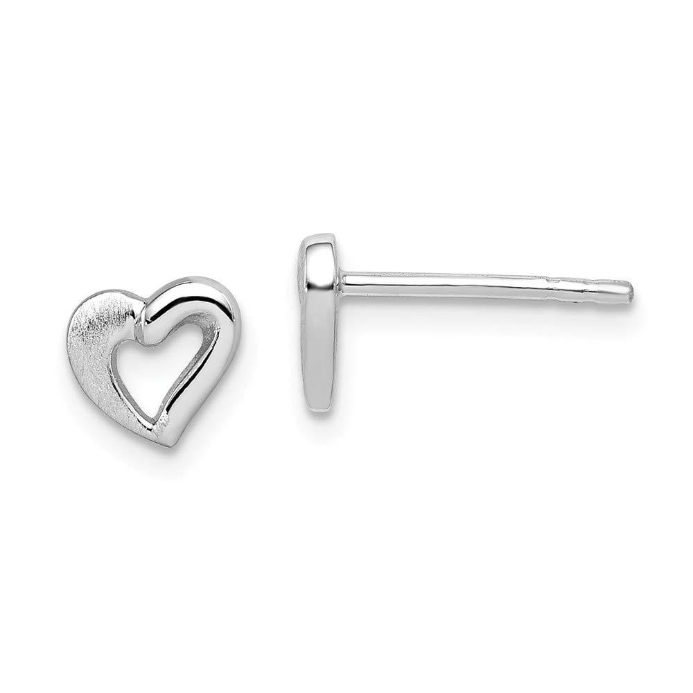 Diamond2Deal 925 Sterling Silver Rhodium Plated Open Heart Post Earrings