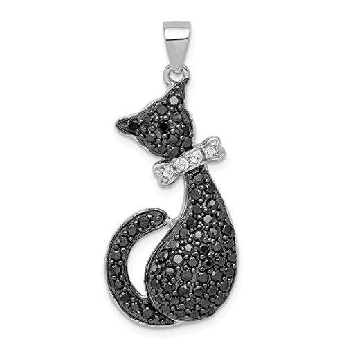 925 Sterling Silver Black White Cubic Zirconia Cz Cat Bow Pendant Charm Necklace Animal Fine Jewelry For Women Gift Set
