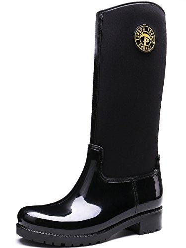de pour pluie Bottes imperméables Bottes de noires femmes noires TONGPU neige patchwork tdwdxF8qZ