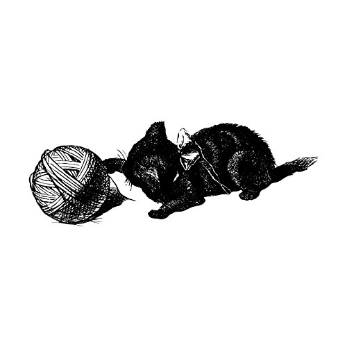 Kitten Playing with a Ball of Yarn Wall Decal - Pen and Ink Style - 44