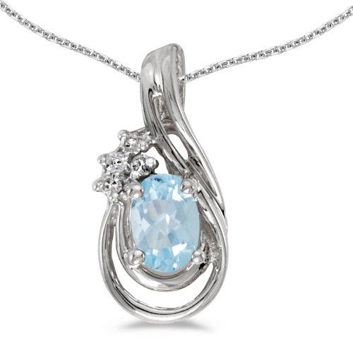 10k White Gold Oval Aquamarine And Diamond Teardrop Pendant